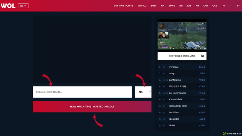 Wol.gg (Wasted on LoL) homepage